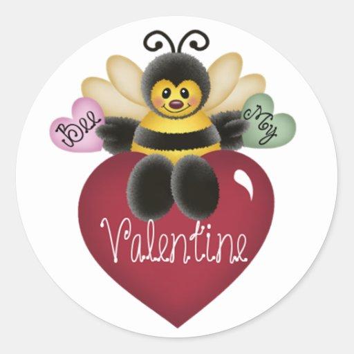 Bee My Valentine Honey Bee Stickers