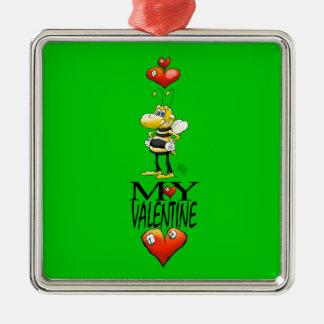 Bee my Valentine. Metal Ornament