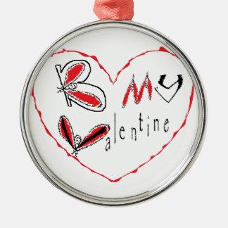 Bee my valentine metal ornament