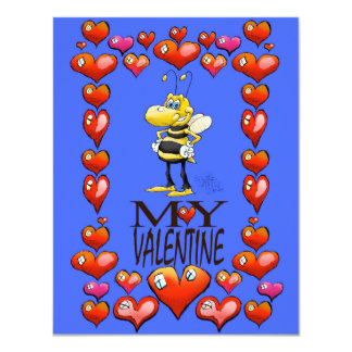 Bee my Valentine, on a invitation. Card