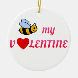 Bee My Valentine Red Ceramic Ornament