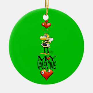 Bee my Valentine, round decoration. Ceramic Ornament