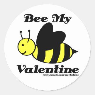 Bee My Valentine Round Stickers