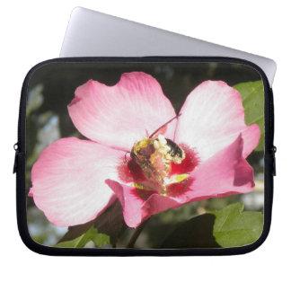 Bee N Rose of Sharon Flower Laptop Sleeve