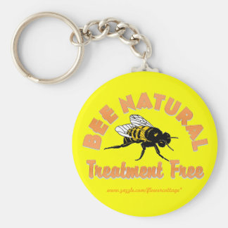 Bee Natural Treatment Free Basic Round Button Keychain