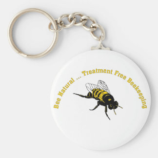 Bee Natural ... Treatment Free Beekeeping Basic Round Button Keychain