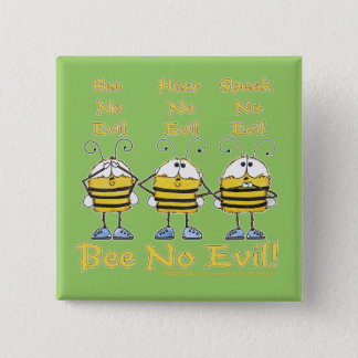 """""""Bee No Evil"""" Bees Button"""