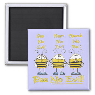 """Bee No Evil"" Bees Refrigerator Magnets"