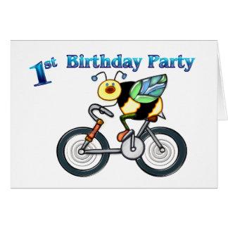 Bee on a Bike 1st Birthday Greeting Card