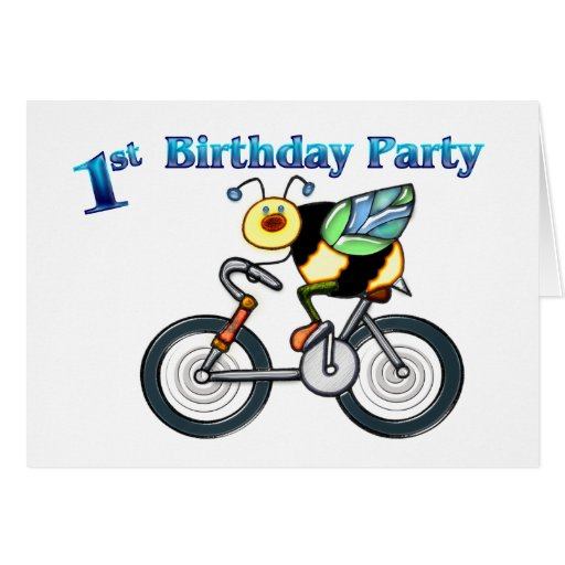 Bee on a Bike 1st Birthday Greeting Card