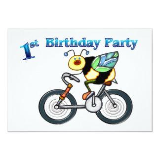 Bee on a Bike 1st Birthday Custom Invitation