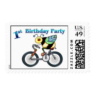 Bee on a Bike 1st Birthday Postage Stamps