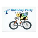 Bee on a Bike 2nd Birthday 5x7 Paper Invitation Card