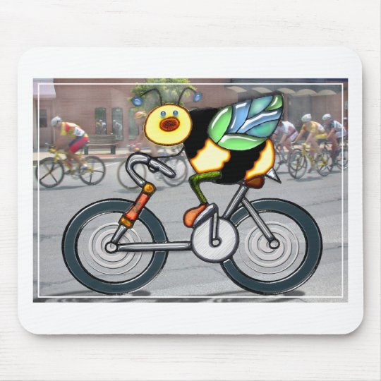 Bee on a Bike in a Race Mouse Pad