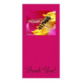 Bee on a Flower Custom Photo Card