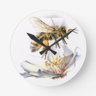 Bee on a flower round clock