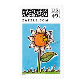 Bee on a flower stamps