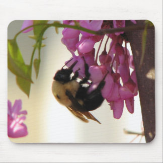 Bee on a Redbud Bloom Mouse Pad