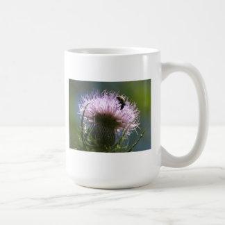 bee on a thistle coffee mug