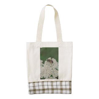 Bee on a white flower macro zazzle HEART tote bag