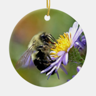 Bee on Aster Flower Photo Christmas Ornament