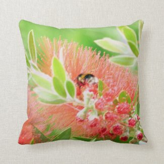 Bee On Bottlebrush Throw Pillow