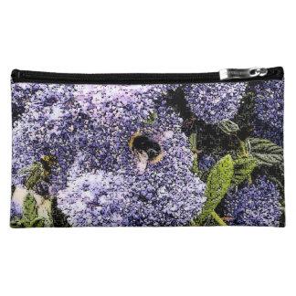 Bee on Ceanothus Flowers Floral Photo Makeup Bag