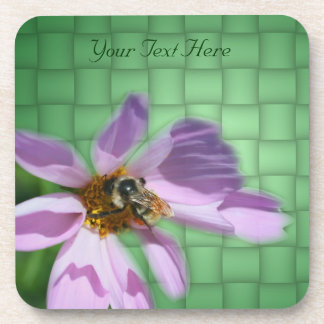 Bee On Cosmos Flower Art Nature Coaster Set