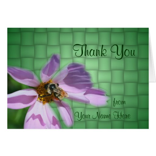 Bee On Cosmos Flower Nature Thank You Card