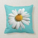 Bee on Daisy Customizable Color Throw Pillow