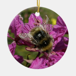 Bee on Fireweed Ceramic Ornament