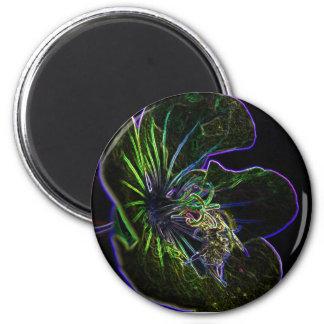 bee_on _flower_art 2 inch round magnet