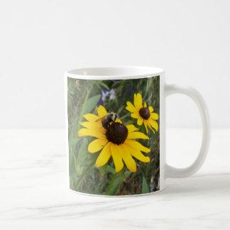bee on flower classic white coffee mug
