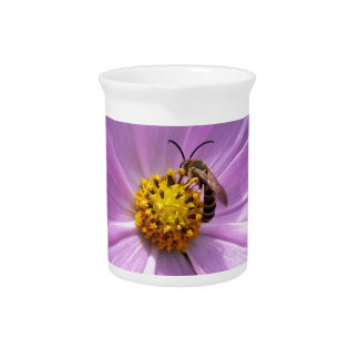bee on flower drink pitcher