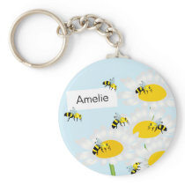 Bee on Flower Keychain - Blue Background