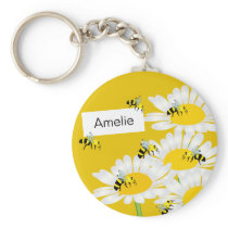 Bee on Flower Keychain - Yellow Background
