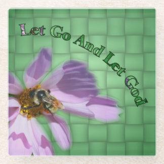 Bee On Flower Let God Inspirational Glass Coaster