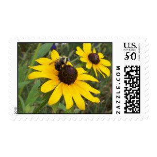 bee on flower postage