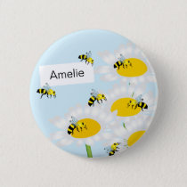 Bee on Flower Round Button - Blue Background