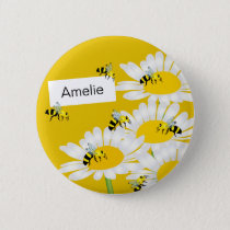 Bee on Flower Round Button - Yellow Background