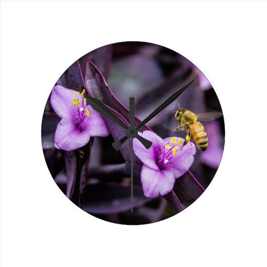 Bee on Flower Round Clock