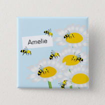 Bee on Flower Square Button - Blue Background