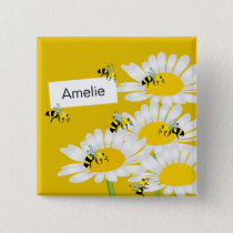 Bee on Flower Square Button - Yellow Background