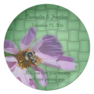 Bee On Flower Wedding Keepsake Plate