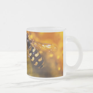 Bee on flowers frosted glass coffee mug