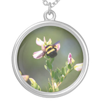 Bee on Fynbos Flower, South Africa Round Pendant Necklace