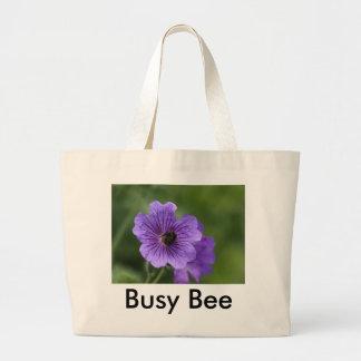 Bee on Geranium Canvas Bag