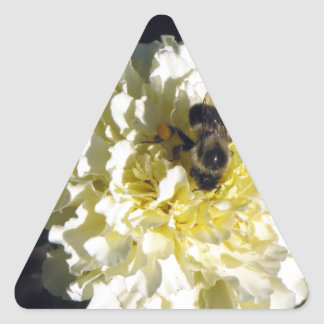 Bee on Ghost Marigold Triangle Sticker