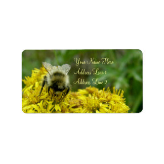 Bee on Goldenrod, Solidago Label