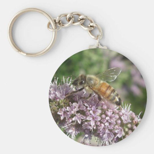 Bee on Mint Flower Keychain